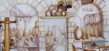 Detail der Wandbemalung des Gasthof zur Burg in Görzke